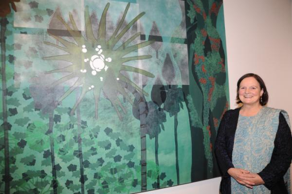 King Street Gallery artist Allison Rudd-Mumford with one of her pictures in the Wexford Art Centre exhibition 'Revolver'