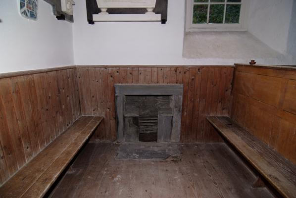 Box pew with its own open fire place Llechryd west Wales