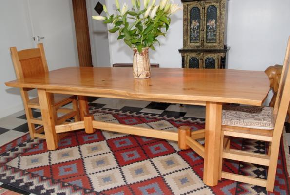 Commissioned dining table and chairs made from ash and deodar cedar