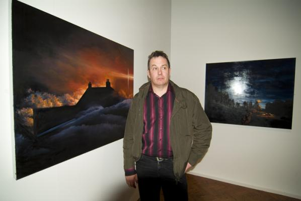 With his one-man show in the Glyn Vivian Art Gallery in Swansea is Carmarthenshire based Gareth Davies.
