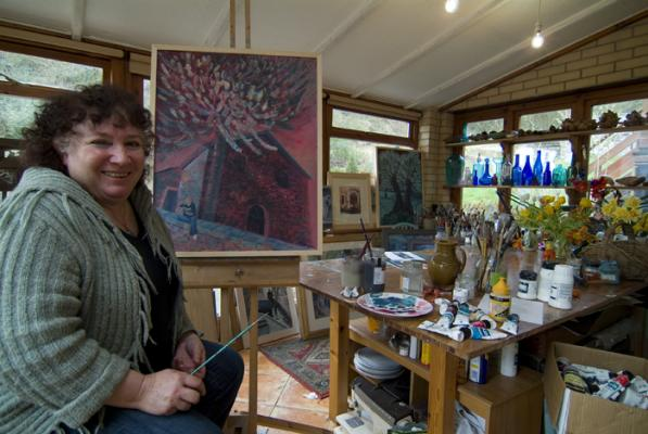 Jan Fry in her studio. A portrait taken for an article about the artist for Carmarthenshire Life magazine