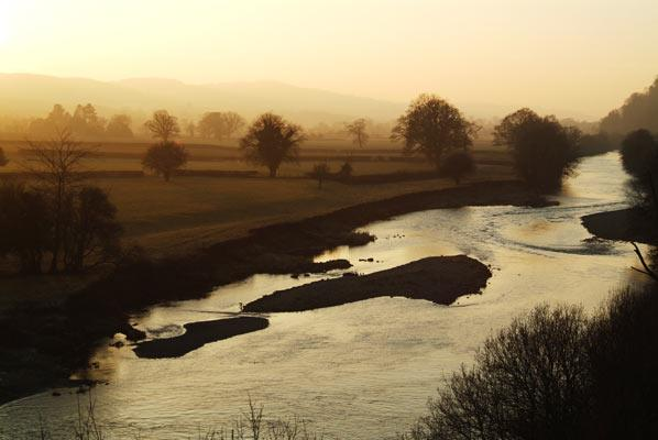 Midwinter sunset on the Tywi River