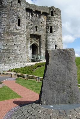 Princess Gwenllian s memorial stone outside Kidwelly Castle